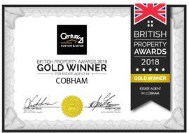 British Property Award - Century 21 Cobham Certificate